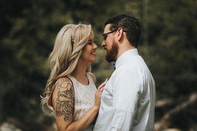 woman and guy with beard